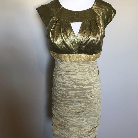 Nicole Miller Gold Silk Dress
